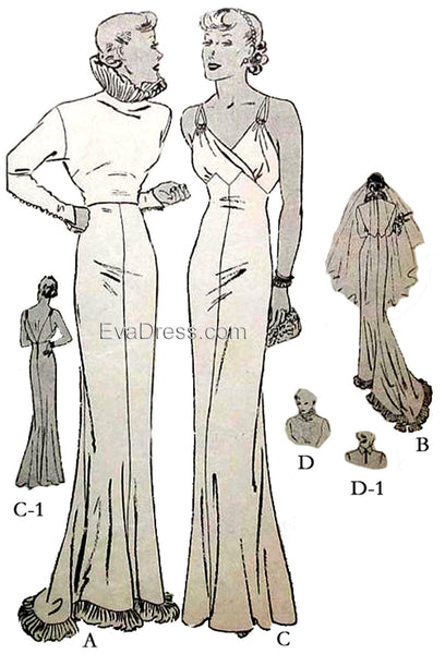 1935 Evening or Wedding Gown E30-6132