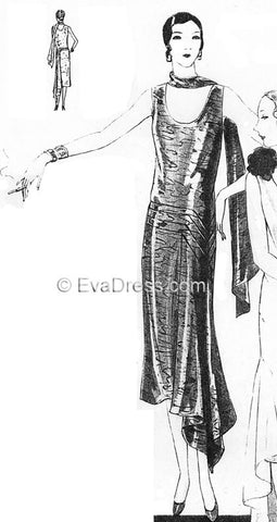 1929 Evening Frock & Scarf E20-6632