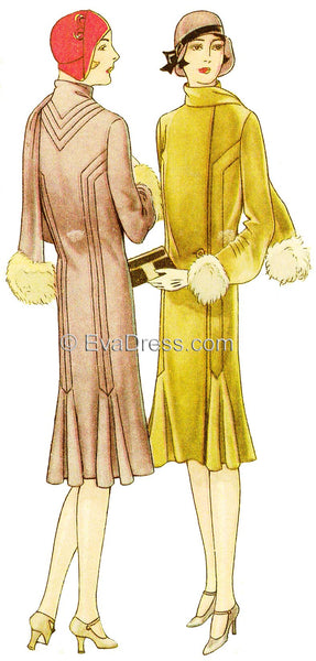 1929 Pin-tucked Coat with Godets C20-6681