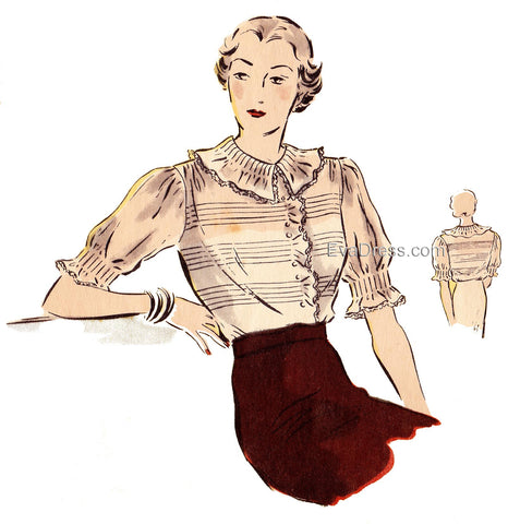 1935 Tucked Blouse, B30-6969