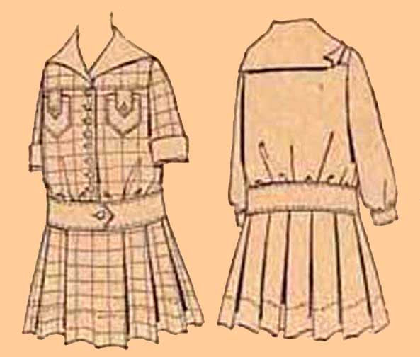 1910's Girl's Dress with Kilt Skirt, D10-7112