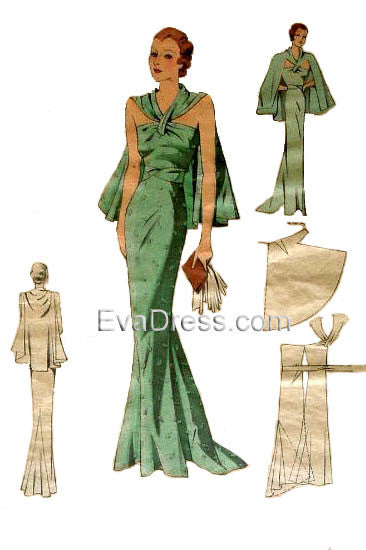 1930's Dinner Gown & Cape E30-744