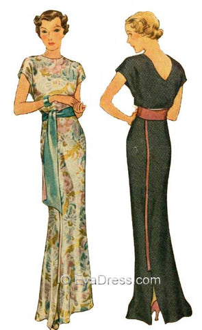 E-PATTERN 1935 Molyneux Dinner Gown E8212