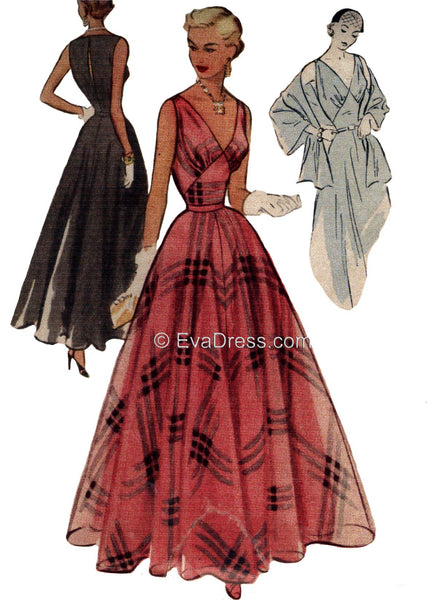1951 Evening Gown, Slip & Stole E50-8437