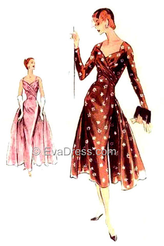 1955 Evening or Day Dress with Drapes E50-883