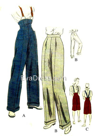E-PATTERN 1945 Trousers & Clam-Diggers, E9016