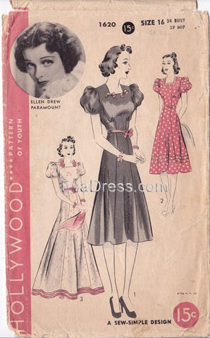 "1939 One-Piece Frock, Original Hollywood 1620, 34"" bust"