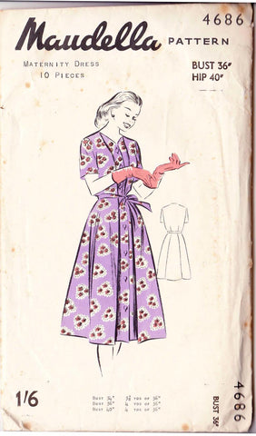 "1950's Maternity Dress, Original Maudella 4686 36"" bust"