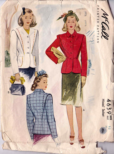 "1942 Jacket, Original McCall 4639 30"" bust"