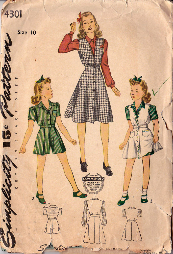 1940's Girls' Jumper, Blouse & Dress, Original Simplicity 4301
