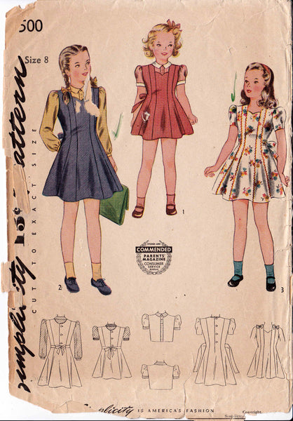 1943 Girl's Jumper, Blouse and Dress, Original Simplicity 4500