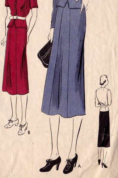 "1930's Two-Piece Frock (SKIRT ONLY) Original Vogue 7823 30"" bust, 25"" waist"