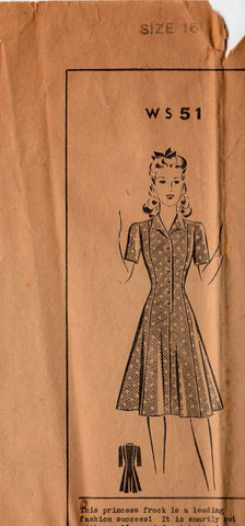 "1940's Shirtwaist Dress Original Mail Order Pattern Ws51 34"" bust"