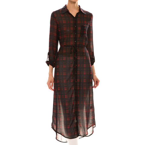 Plaid Pattern Maxi Blouse