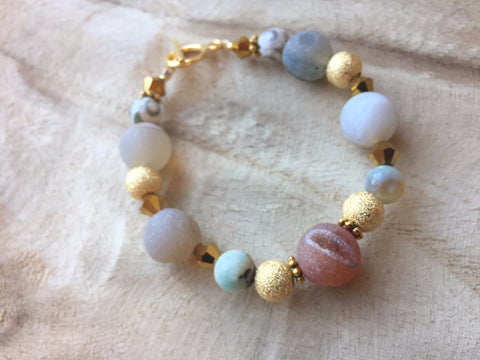 Druzy and gold toggle