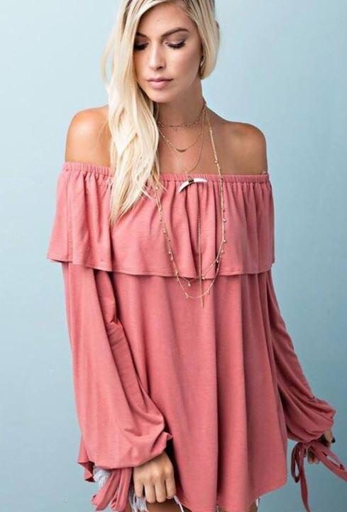 Blush Off The Shoulder Tunic!