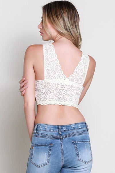 Cream Padded Lace Bralette