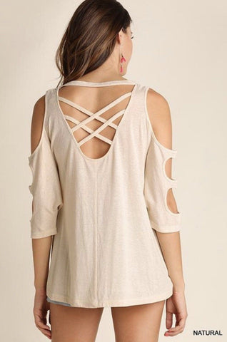 Cutout Sleeve Top With Pocket