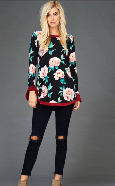 Floral Top With Ruffle Cuffs