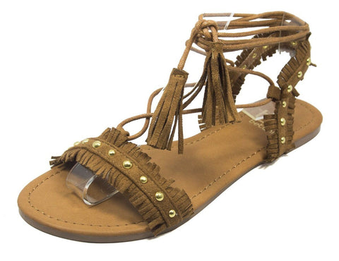 Fringe Lace Up Sandals