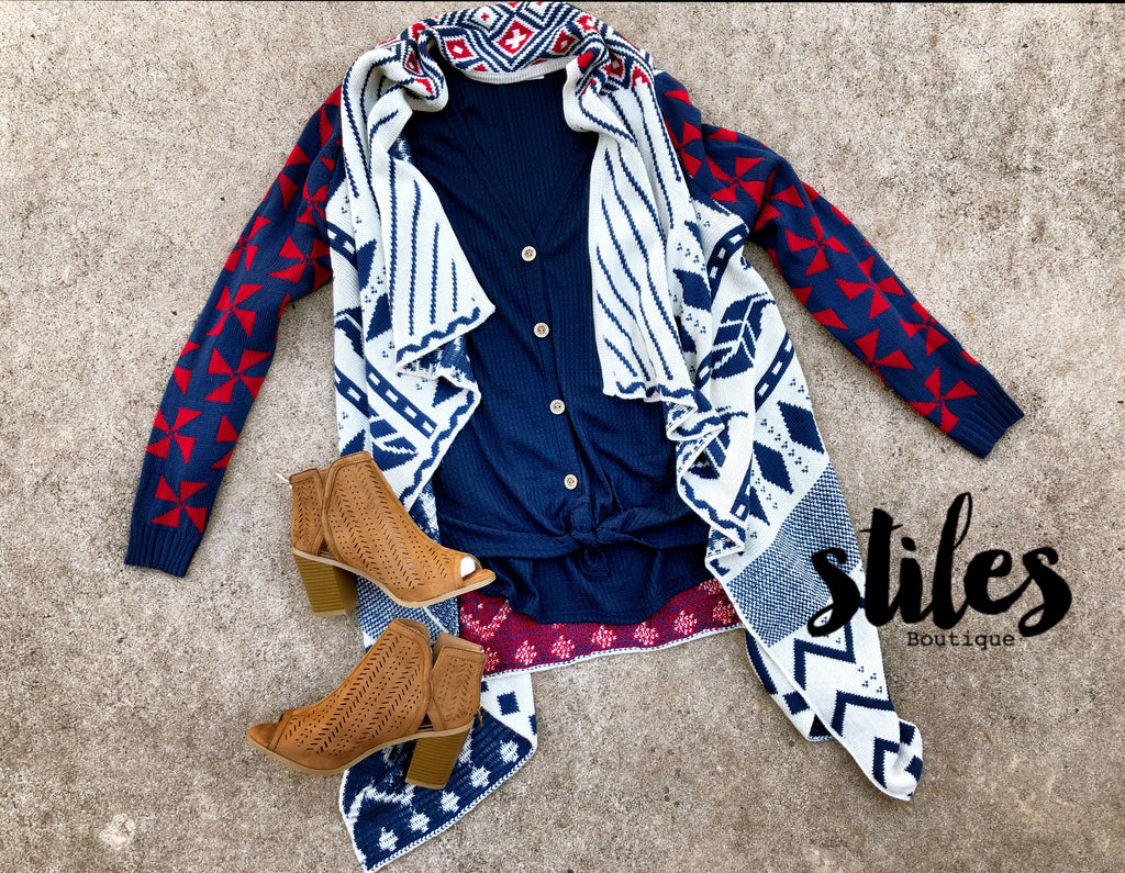 Red/Navy Cardigan