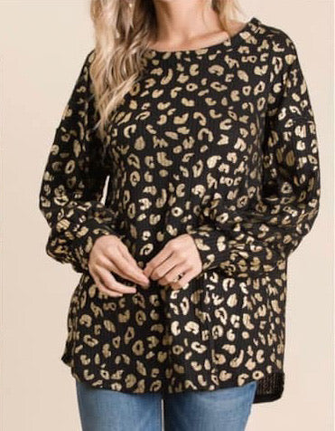 Black and gold leopard top