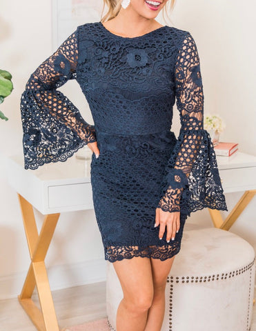 Navy crochet dress