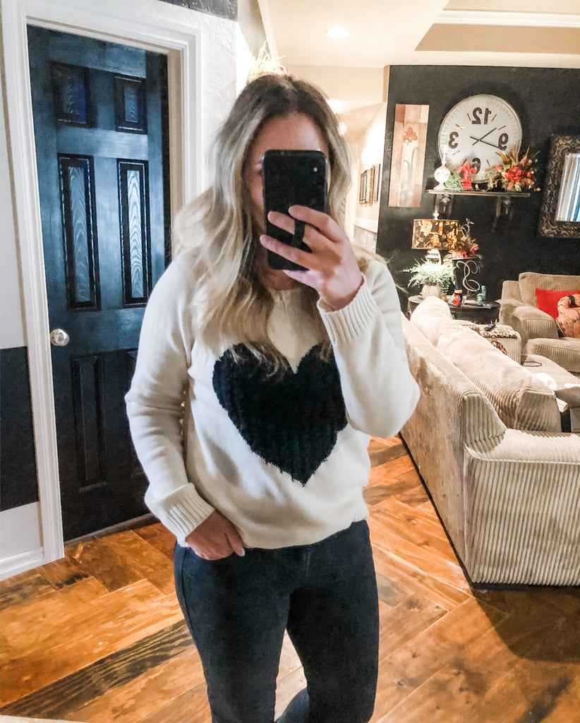 Black heart sweater