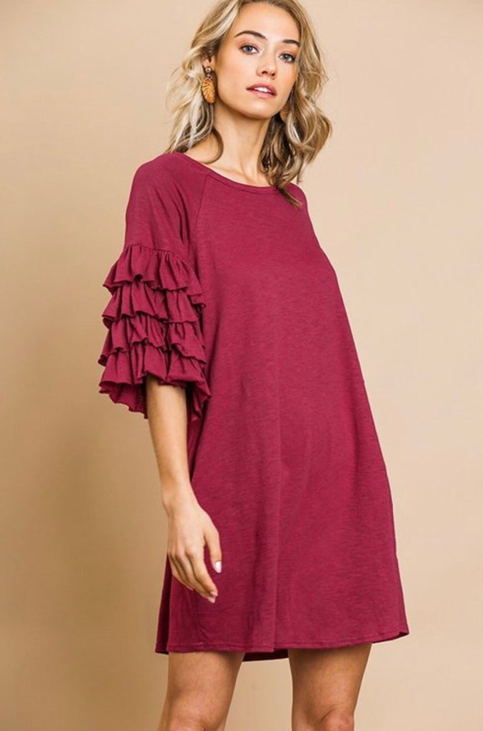 Game day ruffle sleeve dress