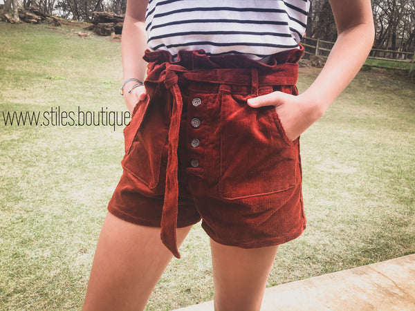 Rust corduroy shorts
