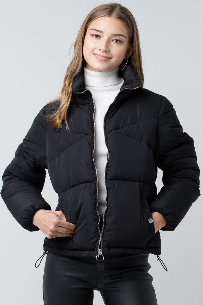 Boyfriend zip up puffer jacket