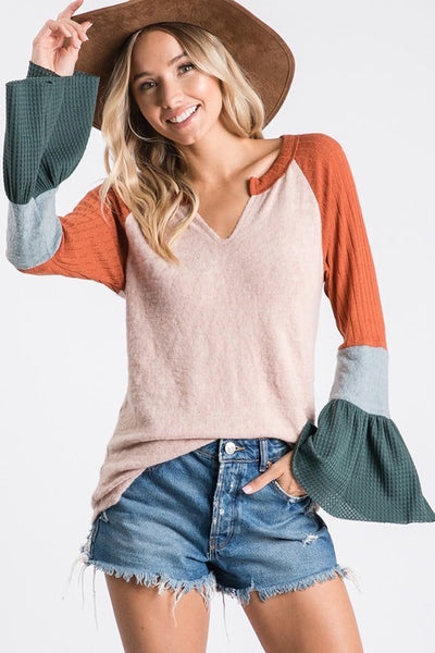 Colorblock bell sleeve top