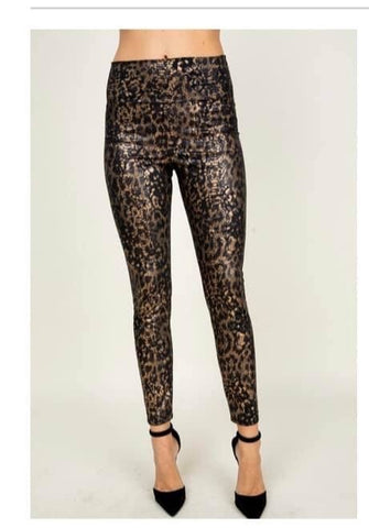 Metallic leopard leggings