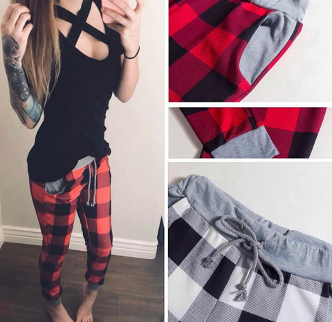 Buffalo plaid slim joggers