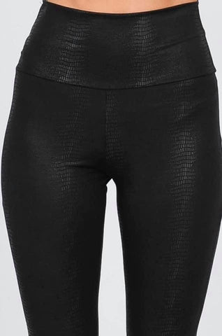 Textured high waist faux leather leggings