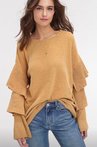 Ruffle sleeve chenille sweater