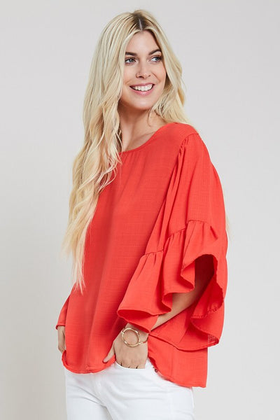 Tomato ruffle sleeve top