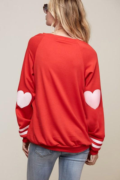 Red Heart Elbow Patch Sweatshirt