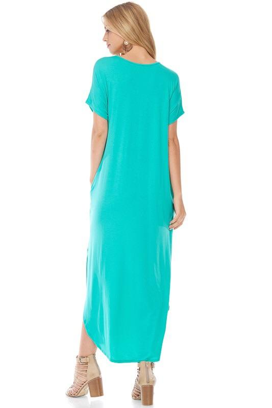 SIDE POCKET SIDE SLIT MAXI DRESS