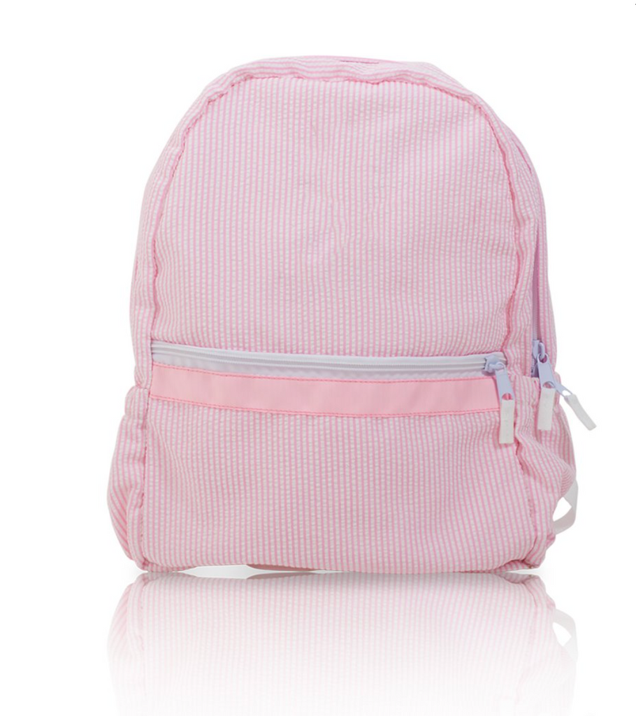 seersucker backpack- pink
