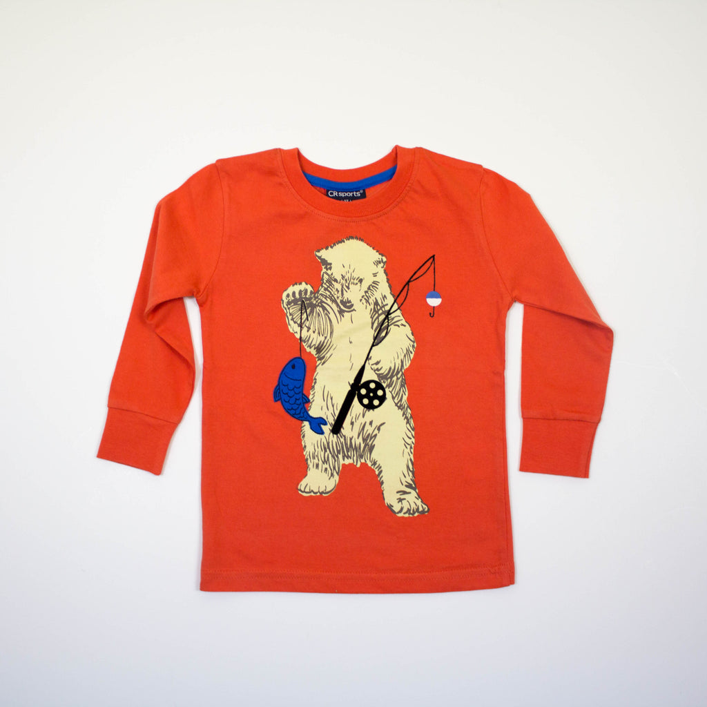 bear toddler long sleeve tee, bear fishing long sleeve tee
