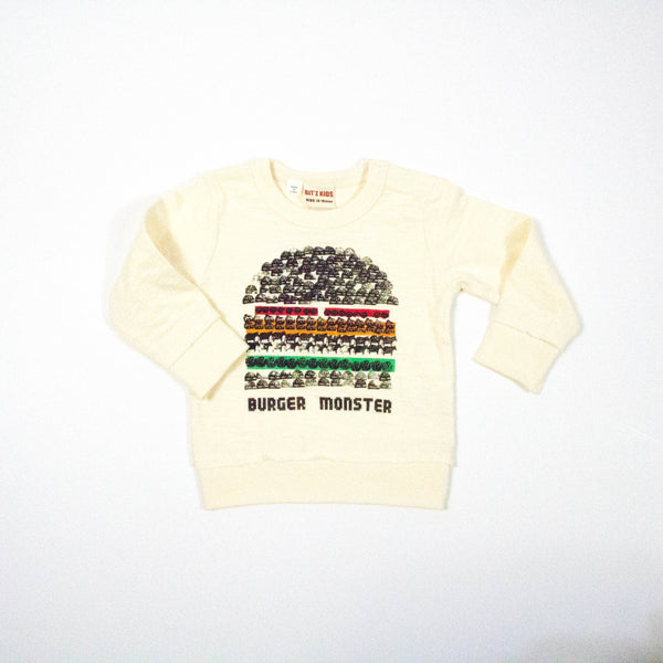 burger monster long sleeve thermal tee shirt