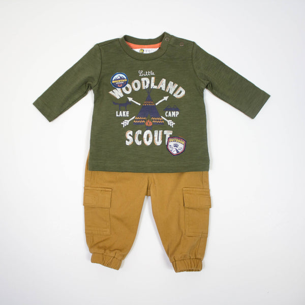 woodland scout top and pull on cargo pants set - 2 piece set