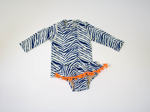 shade critter toddler girls rashguard zebra print with pom pom trim