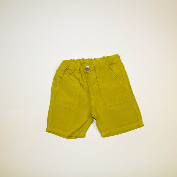 pull on linen shorts- mustard yellow