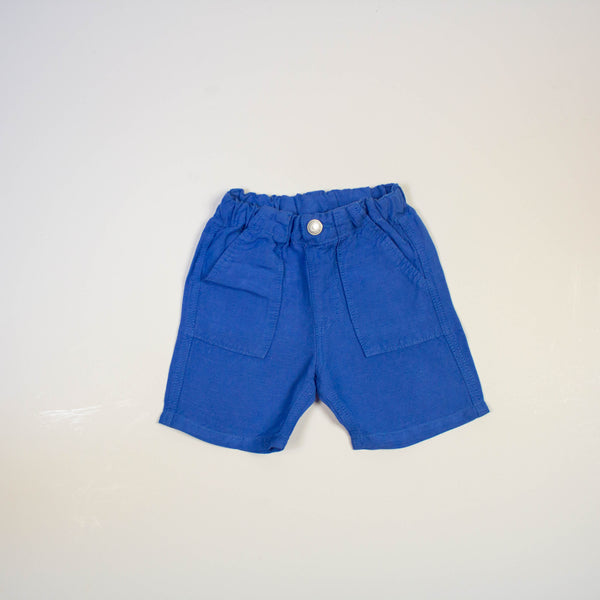 pull on linen shorts- blue