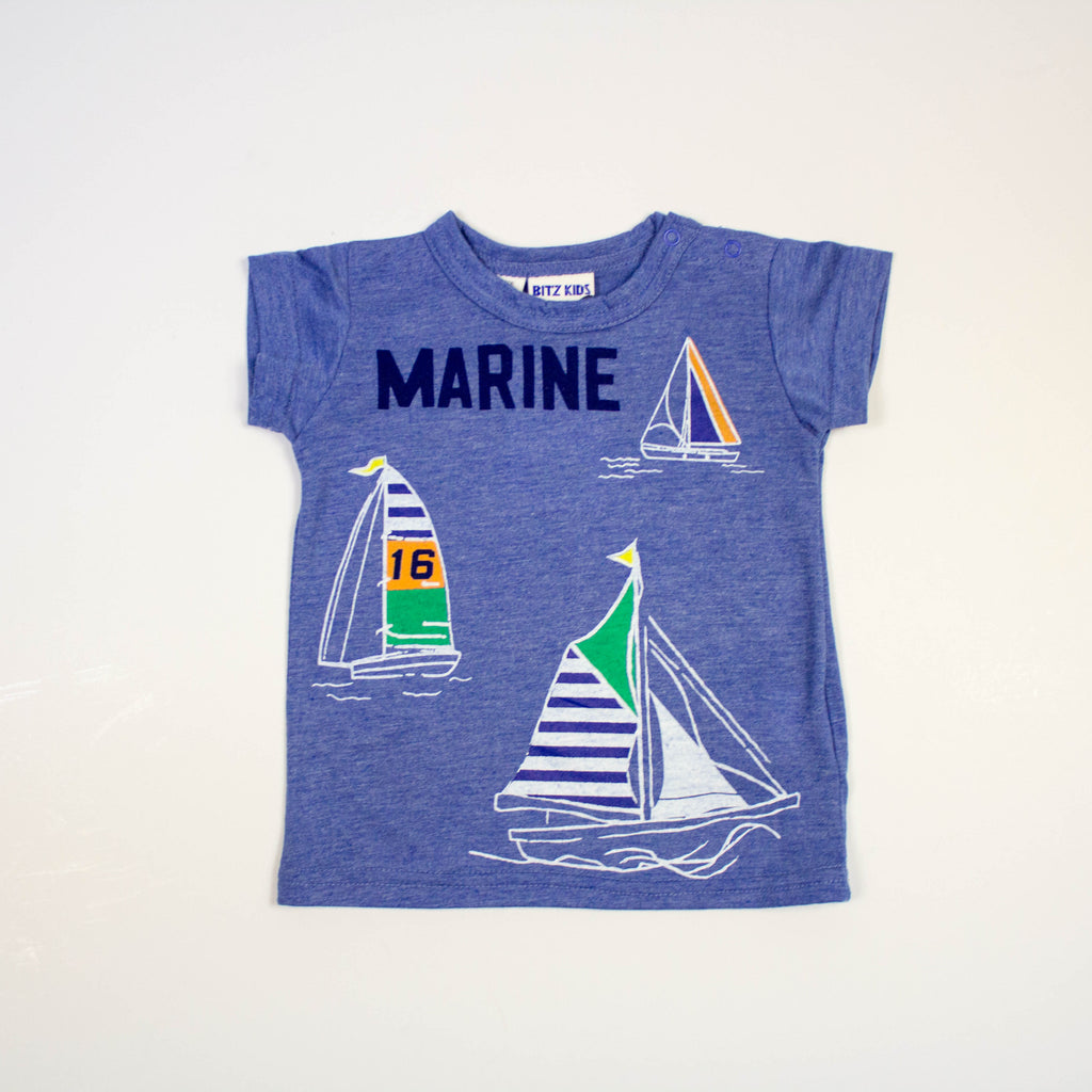 sailboat marine tee- blue