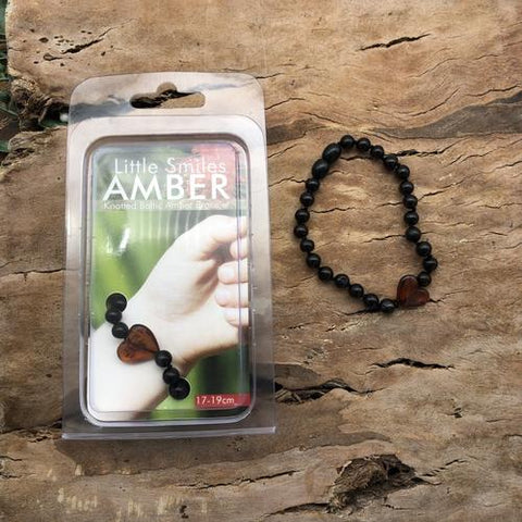 Amber Teething Cherry Brown with Heart Bracelet