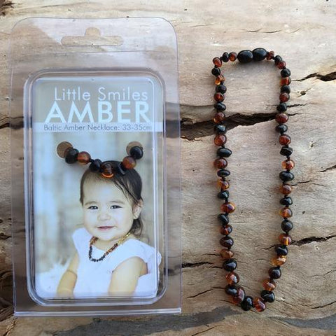 Amber Teething Dark Brown Combo Necklace