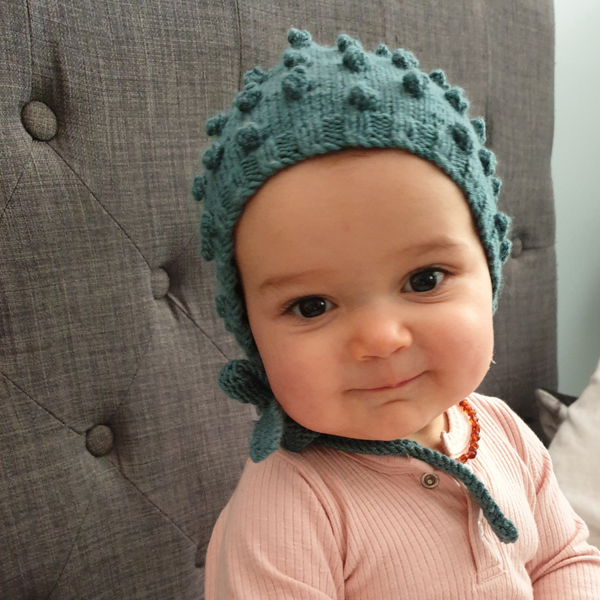 Bobble Popcorn Bonnet  - Light Teal